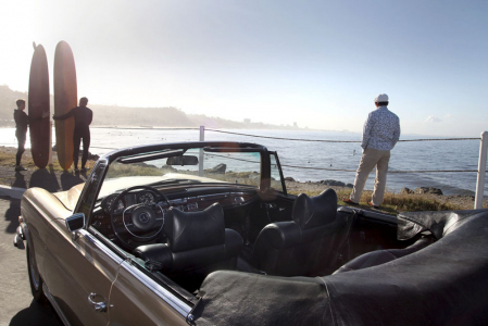 <h5>Mercedes 280SE at Malibu</h5>